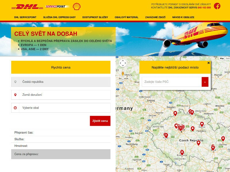 Screenshot: DHL ServisPoint