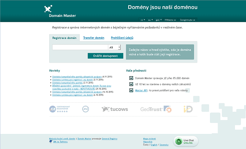Screenshot: Domain Master